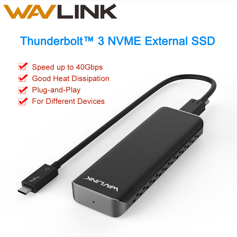 Wavlink Thunderbolt™ 3 NVME External SSD USB Type-C 40Gbps Excellent Dissipation Intel Certified For Microsoft Windows & Mac OS