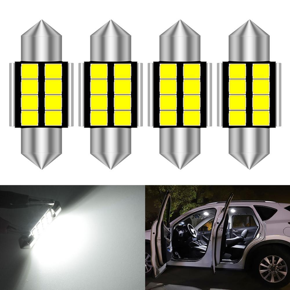 4pcs 31mm Led Festoon Car Interior Light Lamp DE3423 DE3175 C5W Trunk Dome Map Bulb Light For Mazda 2 3 5 6 2012 2013 2014 2015