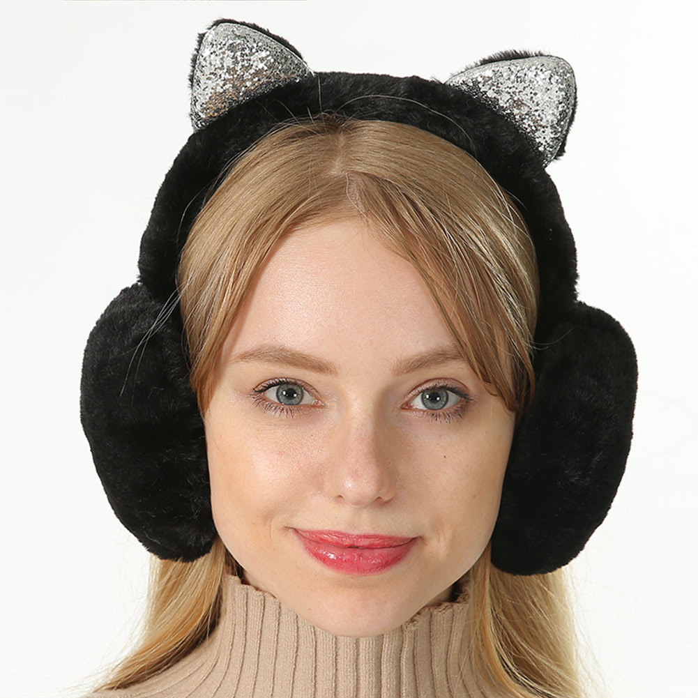 Women Earmuffs Cartoon Cat Ears Windproof Ears Warm Adjustable Earmuffs FS99