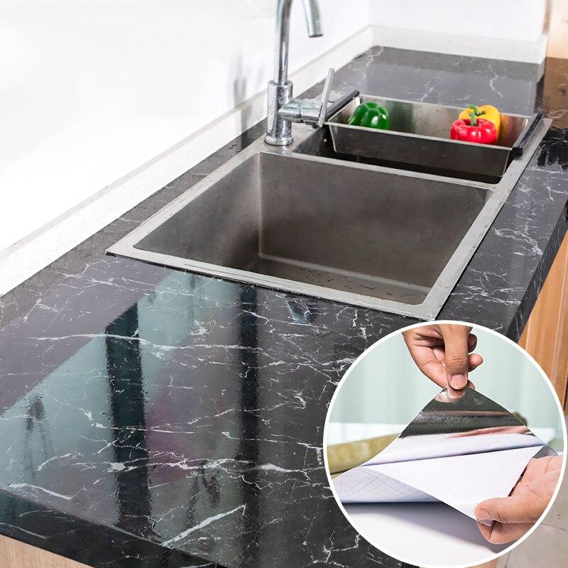 Moderne Küche Aufkleber Wasserdicht Ölbeständiges Klassische Marmor Muster Wand Aufkleber Schützen Desktop Ein Stück Selbst-adhesive Neue