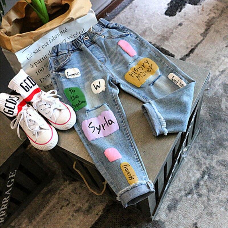 Джинсы для девочек на осень зиму с буквенным принтом для девочек, детская джинсовая муравьев детские штаны для подростков, джинсы в стиле пэчворк 2 7Years|Джинсы| | АлиЭкспресс