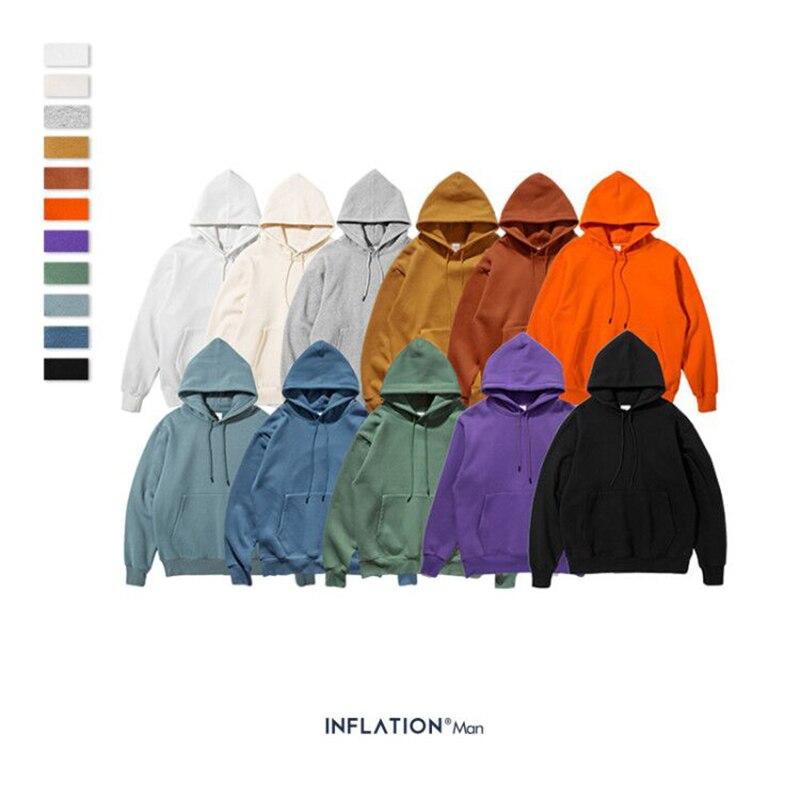 INFLATION 2019 Autumn Mens Thick Fleece Hoodies Hip Hop Pure Hoodies Thick Velvet Fabrics Winter Hoodies For Men Women 167W17 2