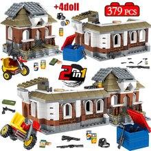 2 в 1 379 шт. джедай игра выживания PUBG дом строительные блоки legoing Военный Город полицейский солдат оружие Кирпичи игрушки для детей