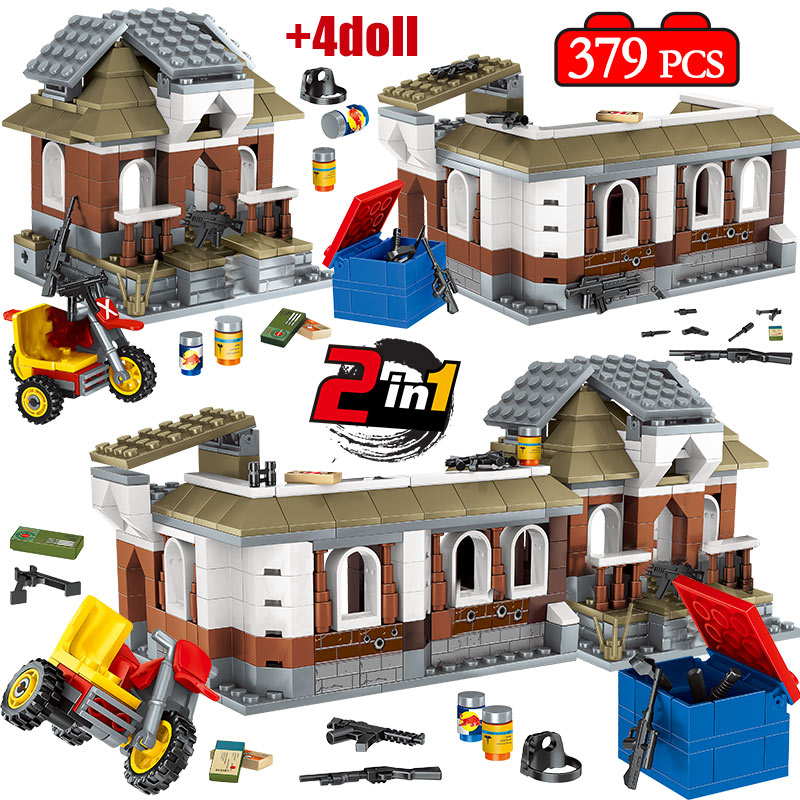 2 IN 1 379pcs Jedi Survival Game PUBG House Building Blocks Legoing Military City Police Soldier Weapon Bricks Toys For Kids