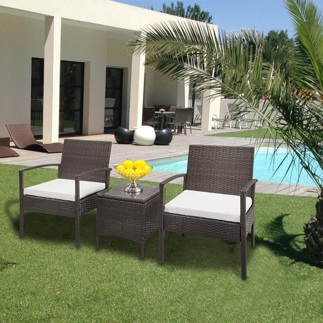 2pcs Arm Chairs 1pc Coffee Table Rattan Sofa Set Brown Gradient 2