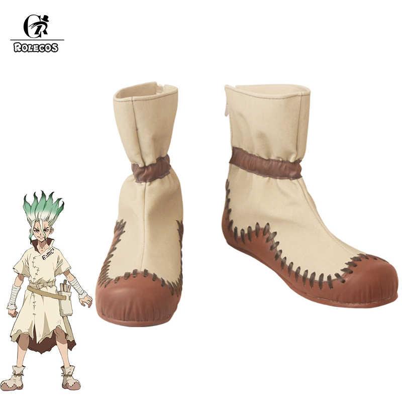 ROLECOS Anime Dr. Stein Cosplay Schuhe Senkuu Cosplay Stiefel für Frauen Männer Senku Ishigami Cosplay Schuhe