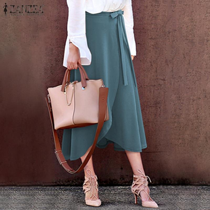 Women's High Waist Vestidos ZANZEA 2020 Irregular Hem Stylish Skirts Split Lace-Up Midi Skirts Female Casual Solid Faldes 5XL