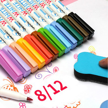 Dry Erase Markers 12Colors Fine Tip Erasable Whiteboard Marker Pen Low Odor School Supplies Office Meeting for Glass Porcelain