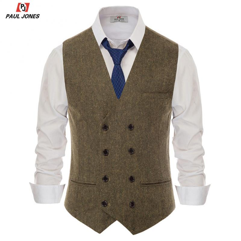PAUL JONES Men's Stylish Double-Breasted Waistcoat V Neck Wool Blend Suit Vest Handkerchief Hem Sleeveless Suit Jacket PJE02051