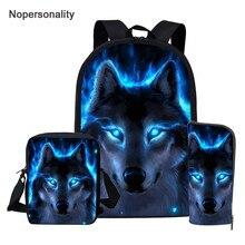 Nopersonality Blue Wolf Print School Bags Set for Boys 3pcs
