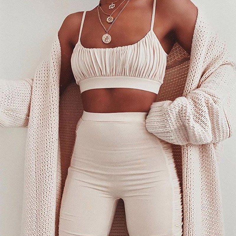 Summer Sexy Tracksuit Women's Two Piece Sets Black Ruched Cropped Tops Set Female Camis 2020 Casual Ladies Sport Shorts Suits