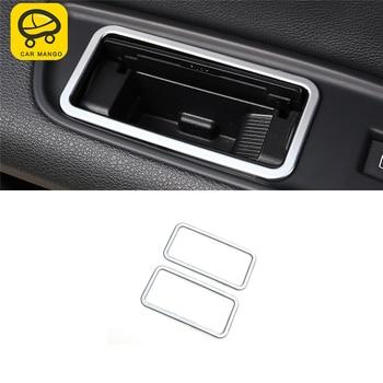 CARMANGO for Audi Q7 4M 2016-2018 Car Styling Rear Seat Ashtray Panel Cover Trim Frame Sticker Chrome Interior Accessories