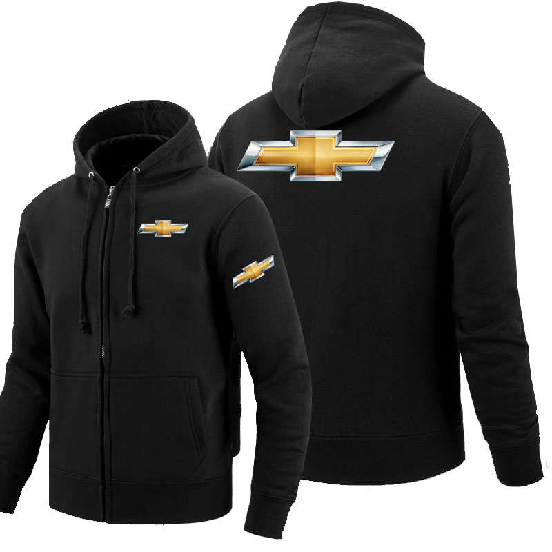 Autumn Winter Male Hoodie Chevrolet Zipper Sweatshirt Jacket Coats Zipper Hoodie Fleece Clothes