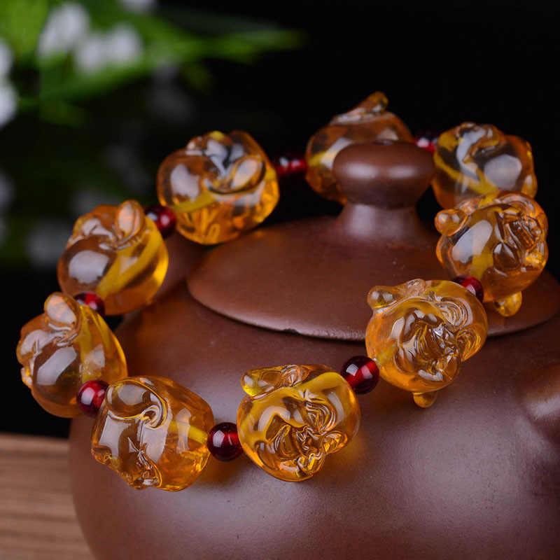 ขี้ผึ้งธรรมชาติบริสุทธิ์ลูกปัดลูกปัดแท้ hand-made พระพุทธรูปลูกปัดสร้อยข้อมือสร้อยข้อมือผู้ชายและผู้หญิง