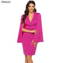 Elegant Batwing Sleeve Red Midi Party Dress Women Fall 2019 New Bodycon Sexy V Neck Dress Office Lady Wrap Blazer Dress Women цена и фото
