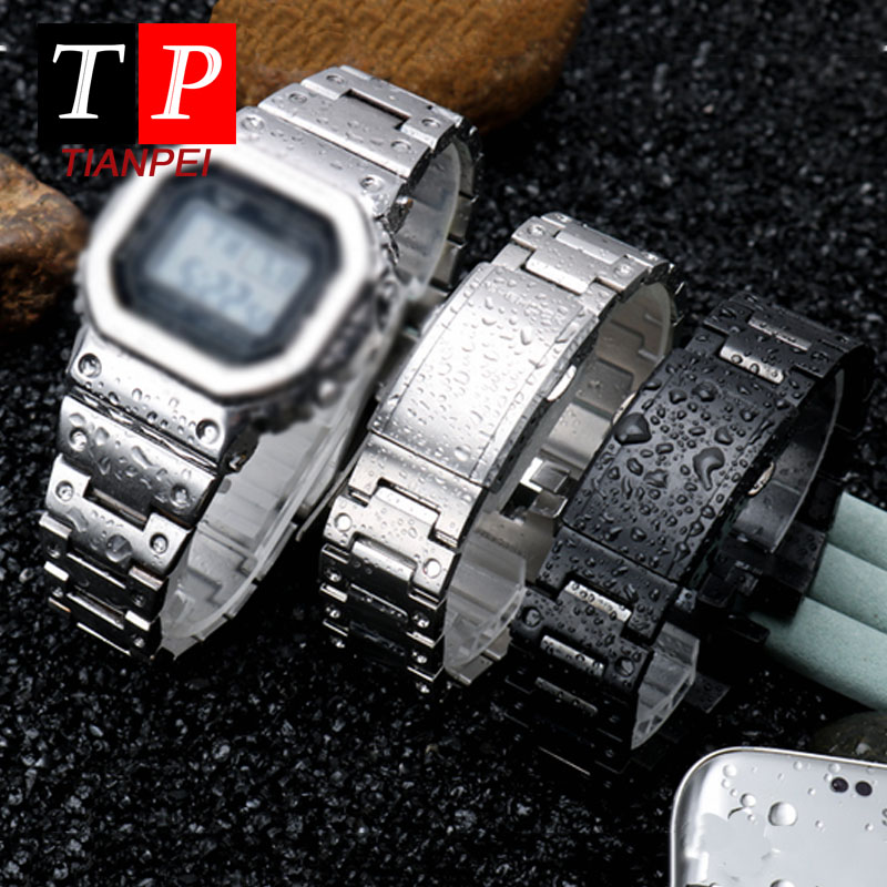 High Quality Waterproof Stainless Steel Watch For GMW-B5000 5000GD Light Wave Bluetooth Metal Square Case Replacement Strap