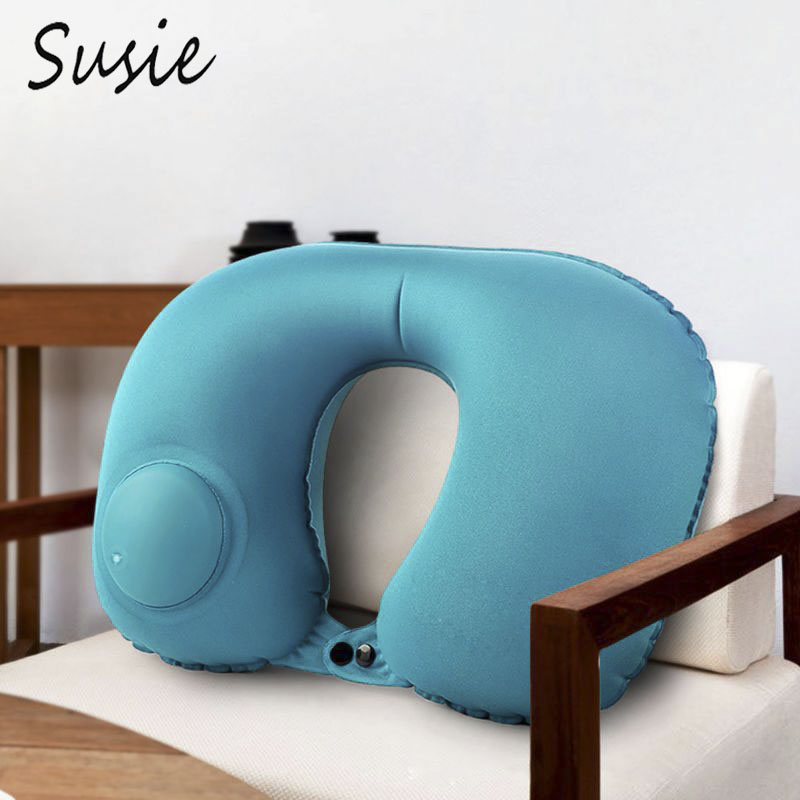Inflatable Travel Neck Pillow Milk Fiber Fabric U-Shaped Portable Pressing Automatic Pump Up Cervical Support Office Airplane