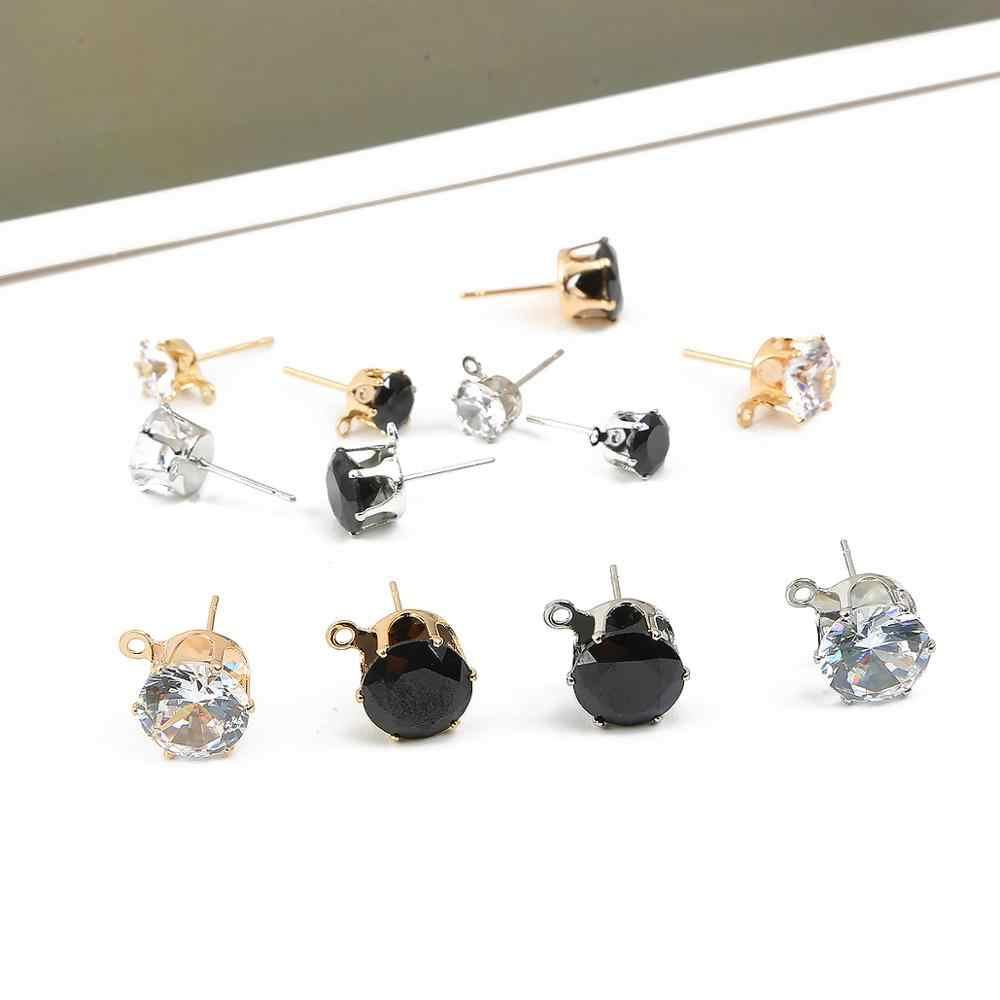 10 pçs orelha do parafuso prisioneiro ouro prata preto 6/8/10mm zircão cristal descobertas para as mulheres diy c reativa brincos de gota acessórios