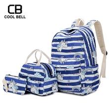 3pcs/set Women Unicorn Backpack 2019 Canvas Waterproof School Bags For Teenager Girls