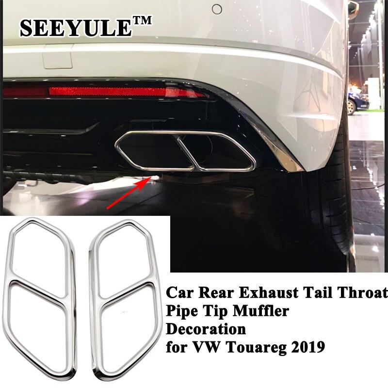 2 pièces/ensemble SEEYULE arrière voiture échappement queue gorge silencieux décoration tuyau embout bouche couverture accessoires pour VW Volkswagen Touareg 2019