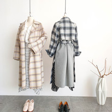 Shuchan  Plaid Women Wool Coat Adjustable Waist Turn-down Collar High Street Middle Aged Winter Fashion New Retro Jackets