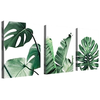 Simple Green Leaves Canvas Art Tropical Plants Artwork Minimalist Watercolor Painting Wall Decor for Bathroom Living Room Bedroo