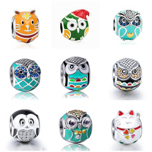 SG animal family fit authentic pandora bracelets enamel charms owl hamster penguin cat beads with CZ silver 925 jewelry gifts sg original owl charms with cz