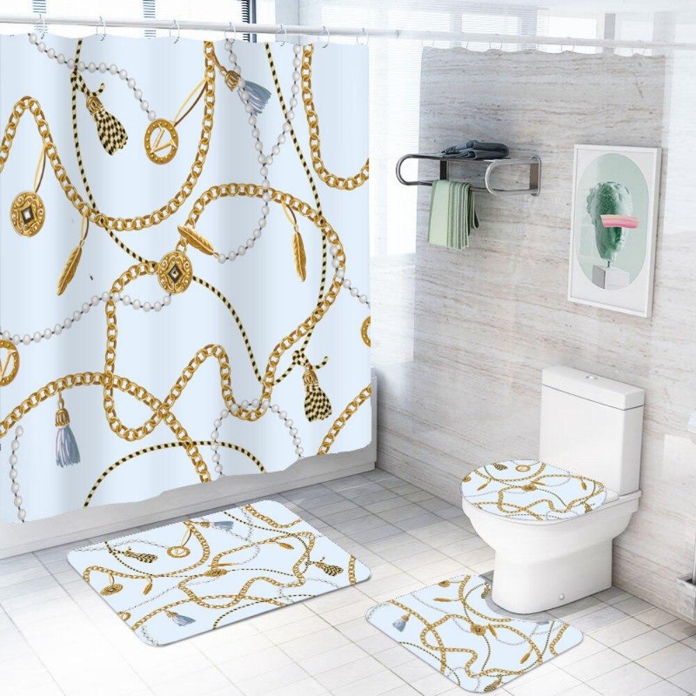 4 ชิ้นชุดผ้าม่านห้องอาบน้ำฝักบัวหรูหราชุดพรมห้องน้ำฝาปิดชั้นกันน้ำ Baroque Vintage สไตล์