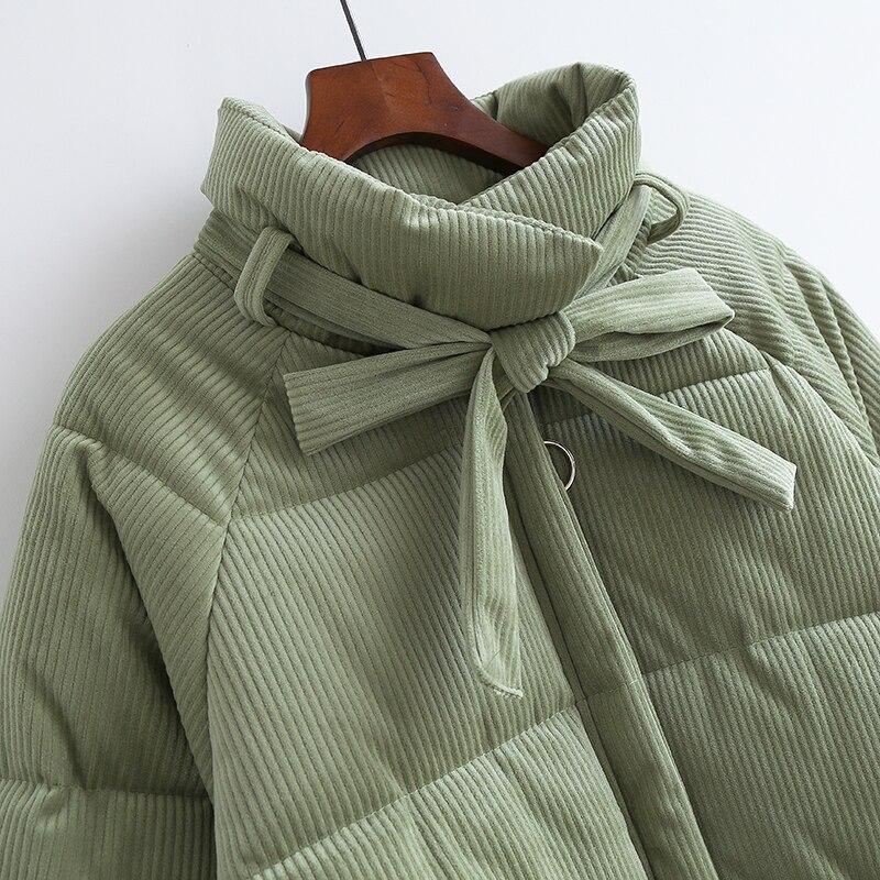 Parkas de pana espesantes para mujer moda Casual abrigo suelto amarillo verde con cremallera de algodón para mujer chaqueta de gran tamaño - 2