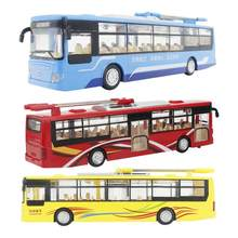 1/48 Mini Electric Alloy Wheel Bus Car Model Flash Sound Toy Pull Back Vehicle Gift Toy Car(China)