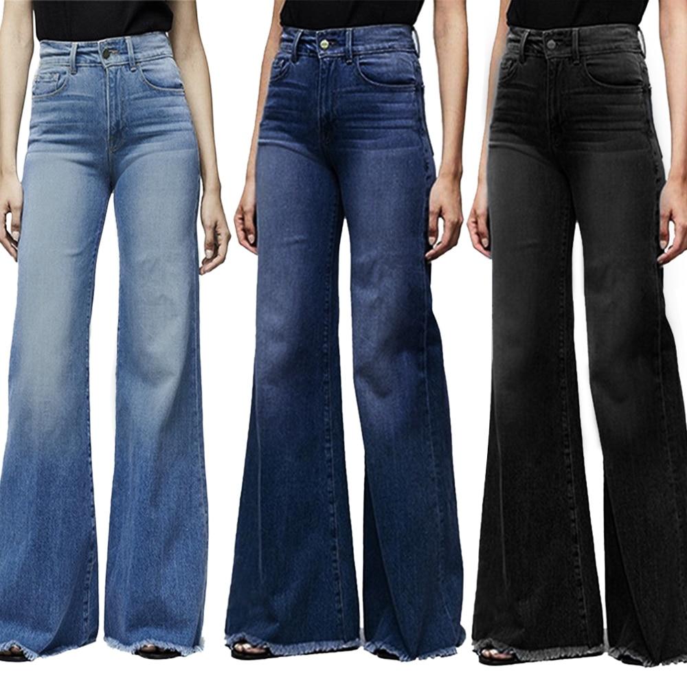 Vertvie Women Wide Leg Denim Pants High Waist Plus Size Boyfriend Female Jeans Casual Vintage Streetwear Flare Jeans Pants Mujer