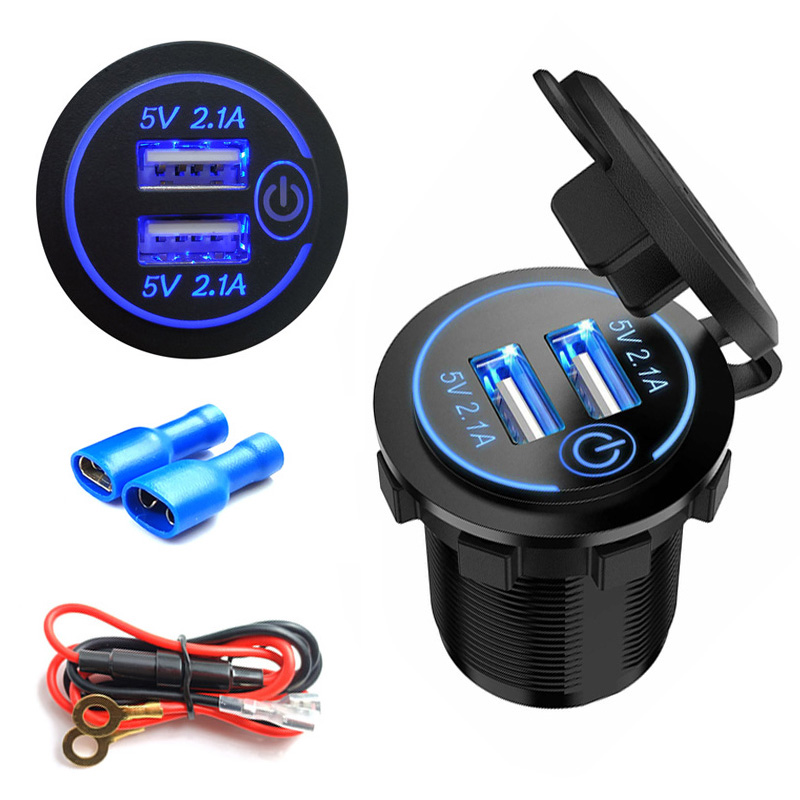 4.2A Dual USB Car Cigarette Lighter Socket Splitter Charger Power Adapter Outlet With 60cm Fuse Wire and 2 Terminals 12V
