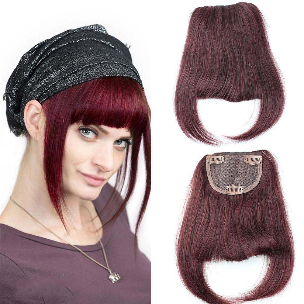 Hair-Extension Human-Hair Bang Clip-In Brazilian for Women 6-8inch Short Wine 99J Straight