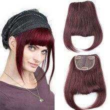 99J Wine Red Brazilian Human Hair Clip in Hair Bang Full Fringe Short Straight Hair Extension for women 6 8inch