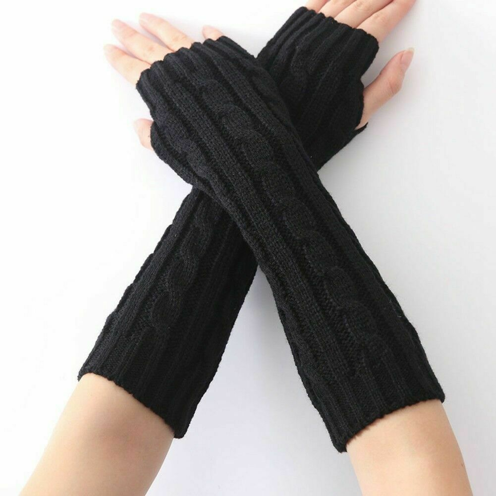 Women Winter Wrist Arm Knitted Long Fingerless Gloves Mittens Hand Warmer New Stretch Elastic Half Finger