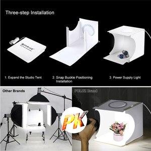 Image 2 - PULUZ 20cm Mini Estudio difuso caja de luz suave anillo LED Panel regulable luz mesa de rodaje foto estudio caja 6 fondos