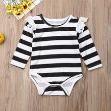 Striped Printed Newborn Bodysuit Toddler Baby Long Sleeve Lace Patchwork Jumpsuit Infant One-pieces Unisex Body Baby Clothes(China)