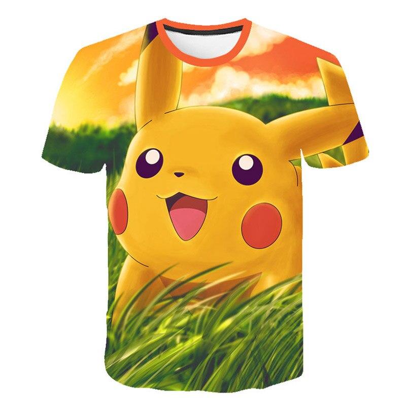 Pokemon Casual 3D Pokemon Harajuku T-Shirt For Boys Girls Clothing 2019 Short Sleeve Kpop Kids T-shirt Tops Corrective Hip Hop