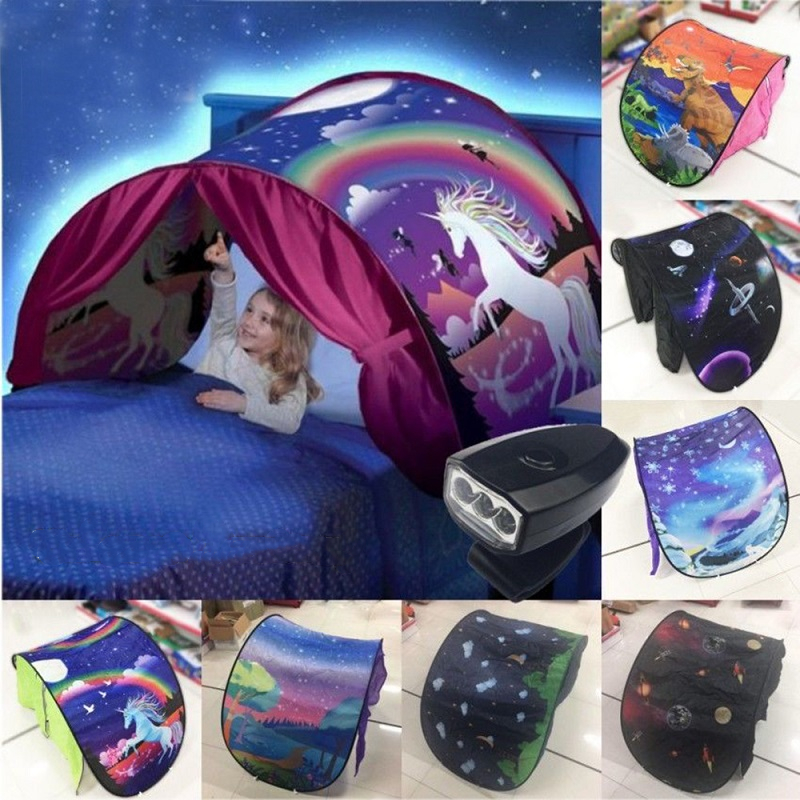 Children Bedding Tent Led Light 3D Printed Girls Boys Room Decor Curtain Play Zone Unicorn Star Private Space Lighting Tent