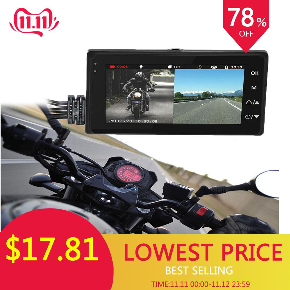 Universal DC12-24V 720P Waterproof Motorcycle Camera DVR 3.0 Inch HD Display Motor Dash Cam With Special Dual-track Lens