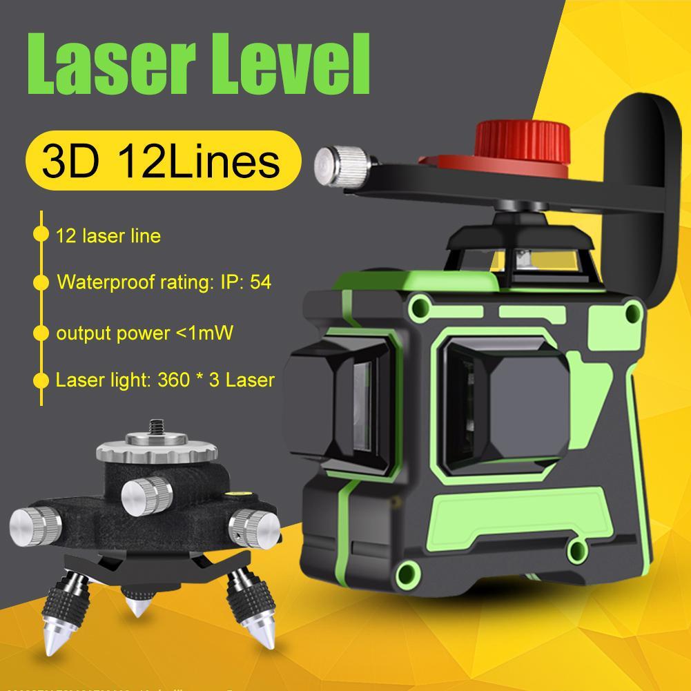 3D зеленый лазерный уровень, 12 линий, 360 горизонтальных и вертикальных перекрестных линий с автоматическим самовыравниванием, в помещении и ...