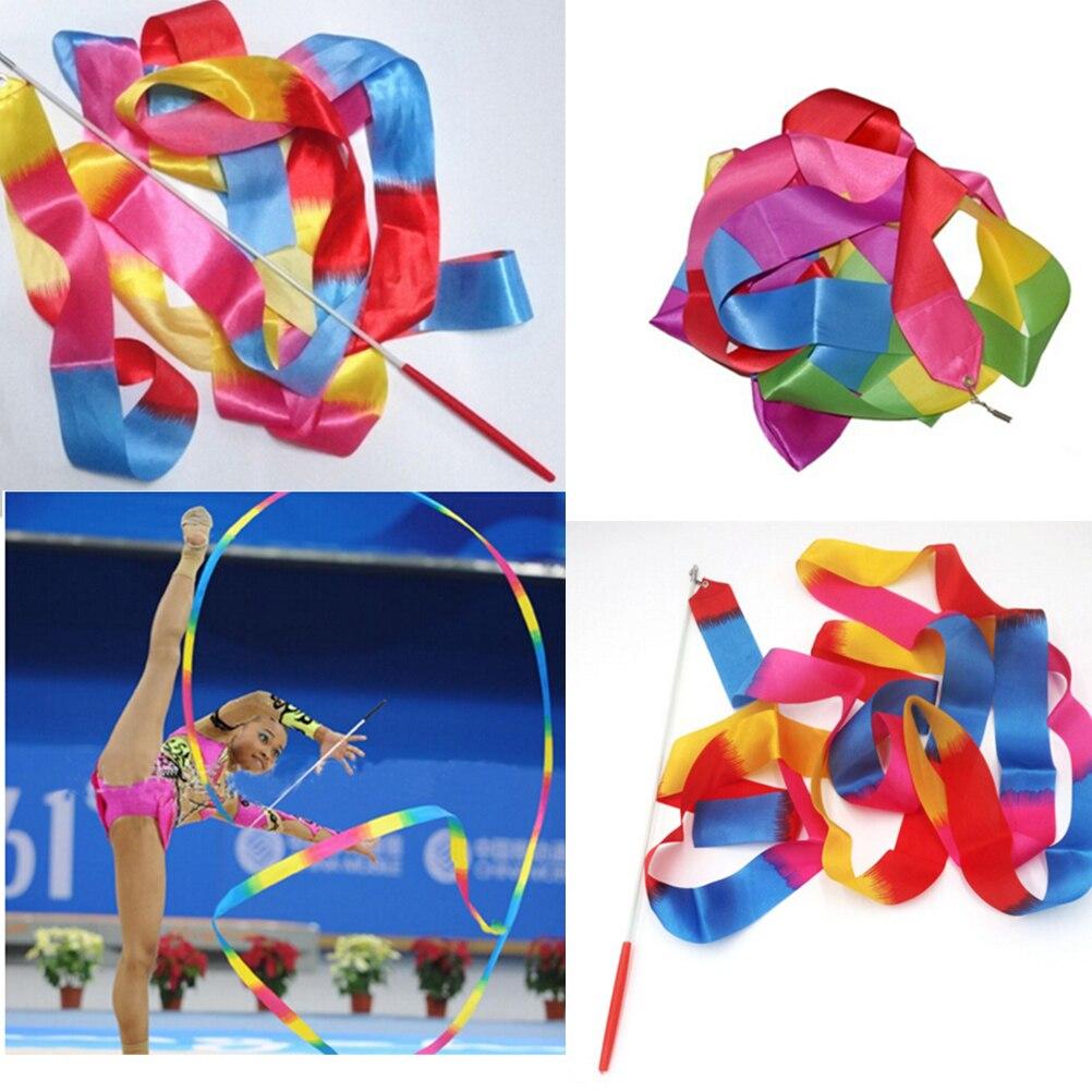 Gymnastique rythmique gymnastique Art gymnastique Ballet Streamer Twirling Rod 4m arc-en-ciel couleur danse ruban GYH enfants jouet