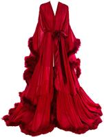 Red 2020 Feather Chiffon Evening Robe V Neck Bridal Robe Wedding Scarf Long Lingerie Robe Nightgown Bathrobe Sleepwear with Bel