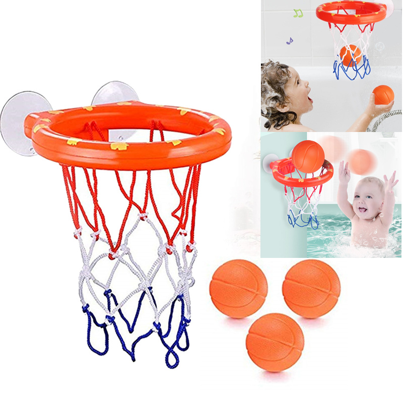 Kids Funny Bath Toys Hoop Balls Basketball Safe Plastic Bathtub Shooting Game Toy Mini Bathroom Basketball Suctions Cup Children