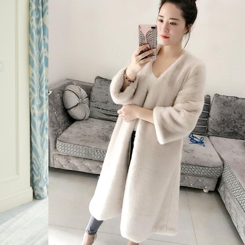Autumn Winter New Parker Fur Coat Women Mink Velvet V-Neck Long Coats Female Loose Plus Size 7XLNine Points Sleeve Warm Overcoat