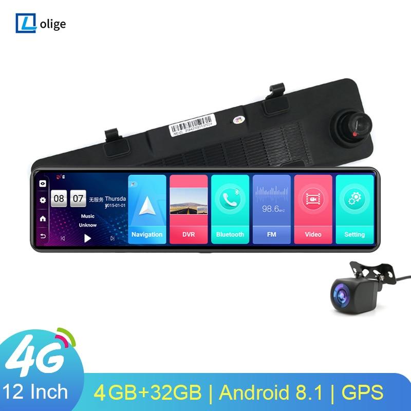 4G Dash Cam 12-дюймовый автомобильный Зеркало заднего вида ADAS Android 8,1 FHD Авто Регистраторы GPS навигации тире Камера зеркало заднего вида Видеорегис...