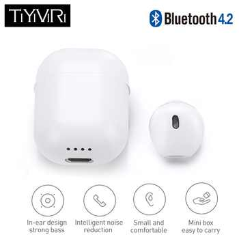 Mini IP8 Bluetooth Earphone True Wireless Earbud Stereo Music Headset Hands-free with Charging Box for Samsung iPhone single - DISCOUNT ITEM  28% OFF All Category