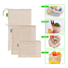 3pcs Reusable Cotton Mesh Produce Bag for Vegetable Fruit kitchen Washable Storage Bag with Drawstring Eco-friendly Cotton Bags(China)