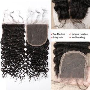 Image 5 - Rosabeauty 28 30 pouces faisceaux de vague profonde avec fermeture péruvienne Remy cheveux humains tisse leau bouclée et 5X5 fermeture à lacets