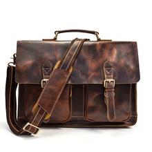 Vintage Men Genuine Leather Interior Compartment Men #8217 s Business Leather Bag Genuine Leather Bags for Men cheap Cow Leather Interior Zipper Pocket Soft Handle Silt Pocket Solid